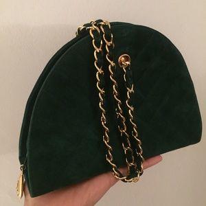 Vintage CHANEL Half Moon Green Suede Shoulder Bag 2fe09a436f